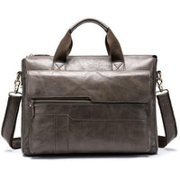 TSB Men's Leather Briefcase Bag The Store Bags Gray