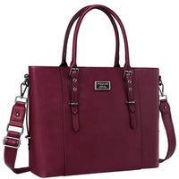 MOSISO Laptop Tote Bag Leather The Store Bags Wine Red
