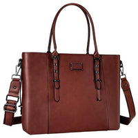 MOSISO Laptop Tote Bag Leather The Store Bags Brown