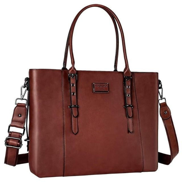 Large Leather Laptop Tote MOSISO The Store Bags Brown