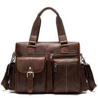 WESTAL Men's Leather Weekend Travel Bag The Store Bags Red Brown