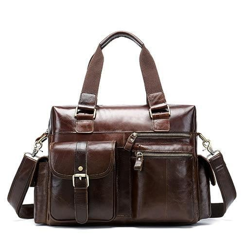 WESTAL Men's Leather Weekend Travel Bag The Store Bags Coffee