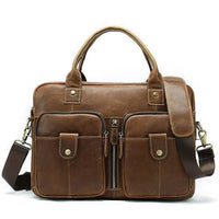 WESTAL Men's Brown Leather Laptop Bag The Store Bags Brown