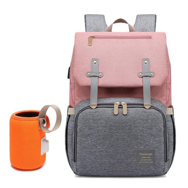 FAMICARE USB Diaper Bag The Store Bags Grey Pink