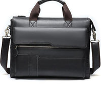 TSB Men's Leather Briefcase Bag The Store Bags Black Gray