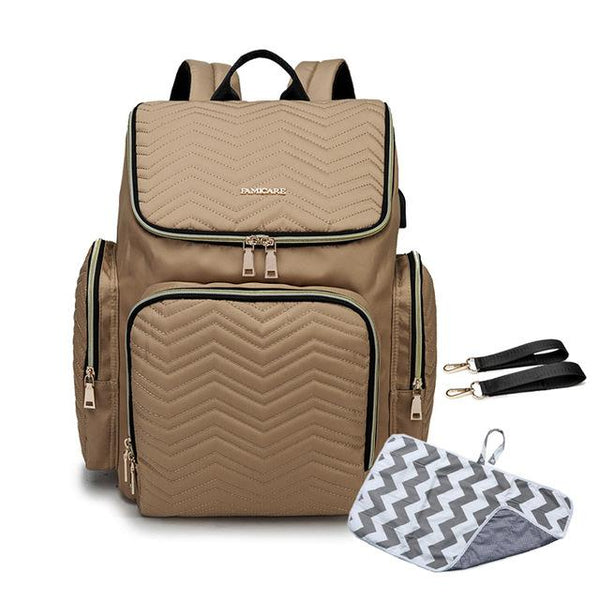 TSB USB Diaper Backpack The Store Bags Khaki With Mat