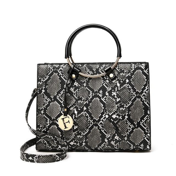 ALFYNY Snake Print Tote Bag The Store Bags Gray