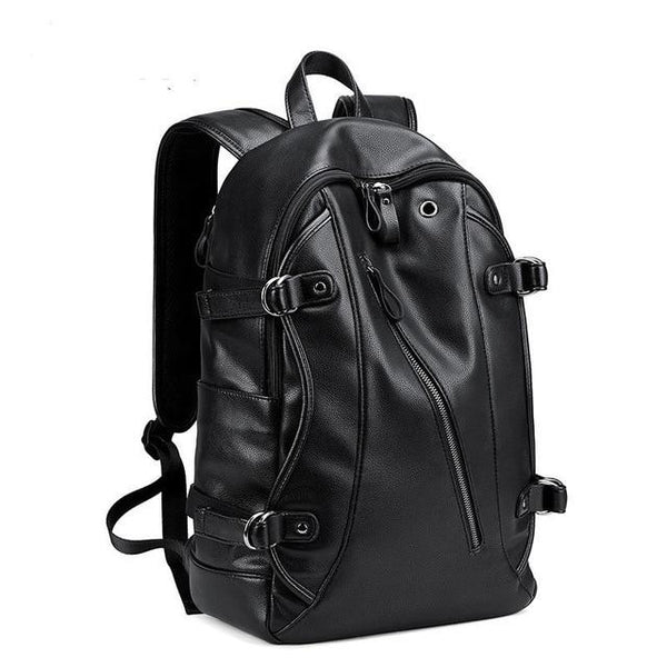 Black Leather College Backpack The Store Bags Black without usb