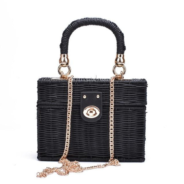 Straw Evening Bag The Store Bags Black