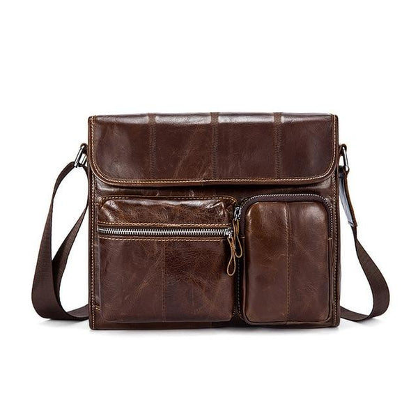 WESTAL Male Leather Messenger Bag The Store Bags Coffee