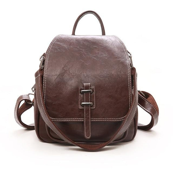 LVS Mini Black Faux Leather Backpack The Store Bags brown