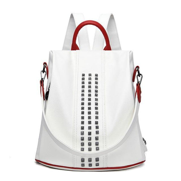 Women's Anti Theft Waterproof Backpack POABA The Store Bags White