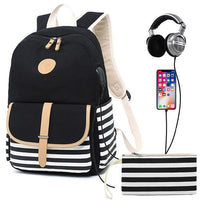 Striped High School Backpack TSB The Store Bags Black