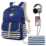 Striped High School Backpack TSB The Store Bags Dark blue