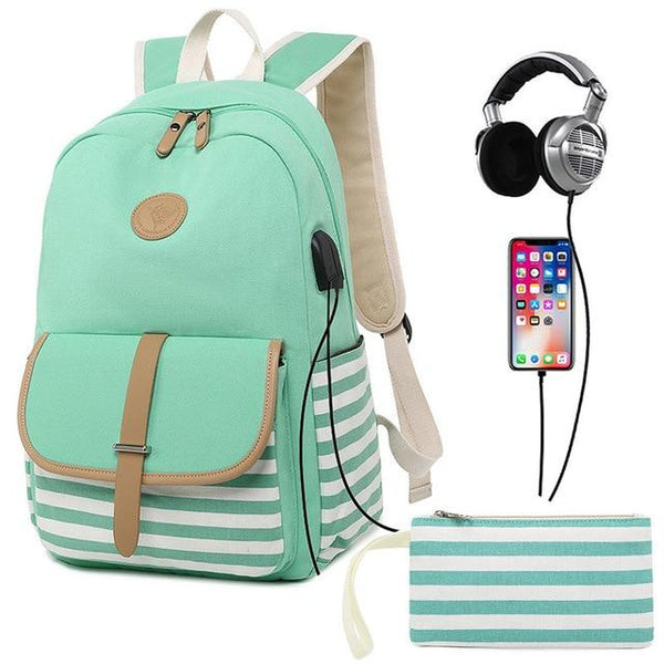 Striped High School Backpack TSB The Store Bags Green
