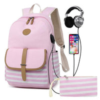 Striped High School Backpack TSB The Store Bags Pink
