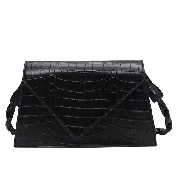 Embossed Leather Shoulder Bag ACCIA The Store Bags Black