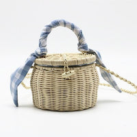 TSB Women's Bamboo Basket Bag - Light Blue - The Store Bags