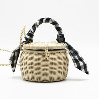 TSB Women's Bamboo Basket Bag - Black - The Store Bags