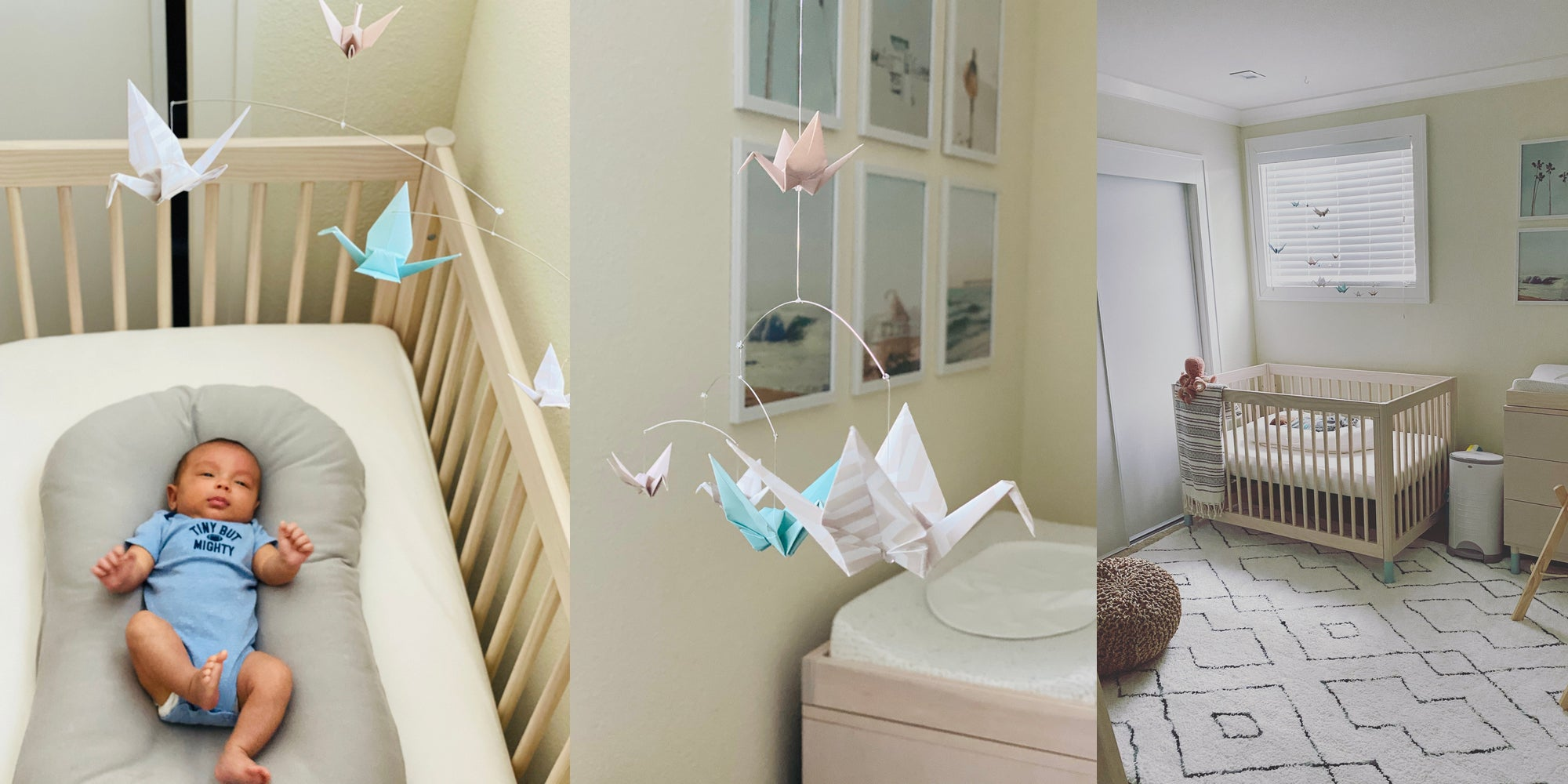 Beachy themed baby nursery with a soothing origami paper crane mobile hanging above the crib.