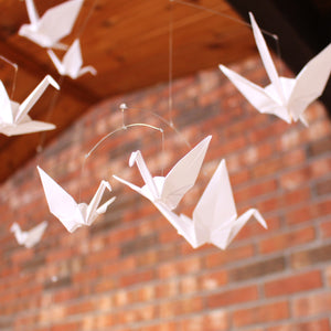 All White Origami Paper Crane Mobile