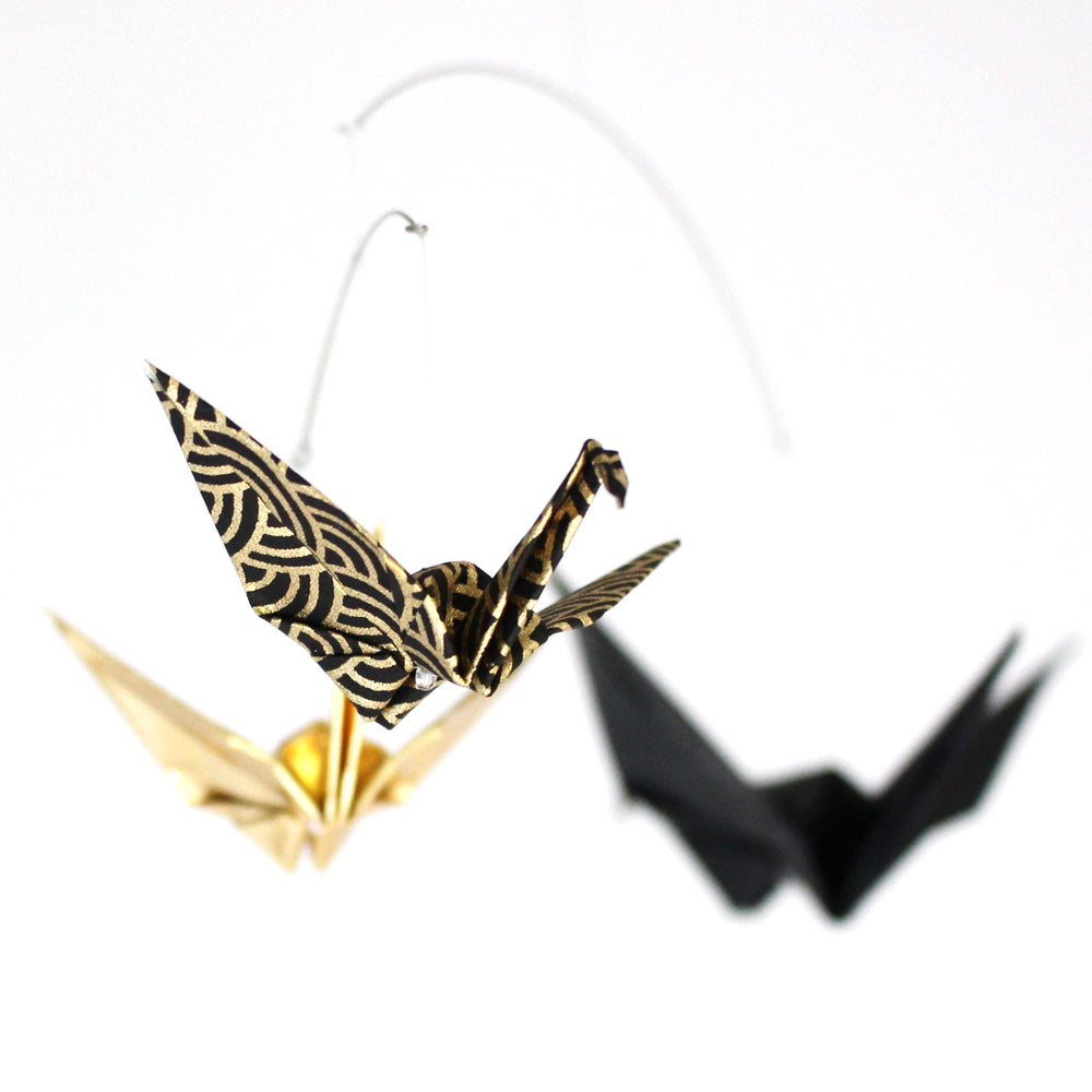 Black and Gold Crane Mobile