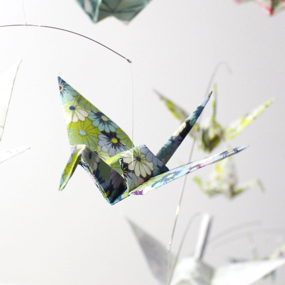 Origami Paper Crane Mobile with Handmade Paper