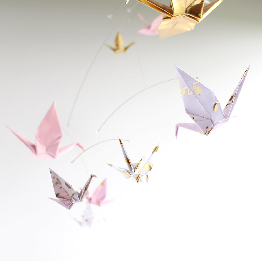 Pink and Gold Crane Mobile