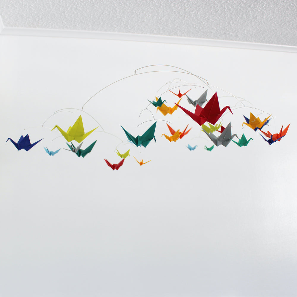 Large Calder Style Paper Crane Mobile in Solid Colors
