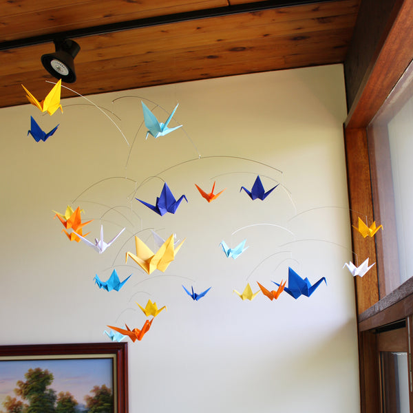 Giant Paper Crane Mobile in Solid Colors