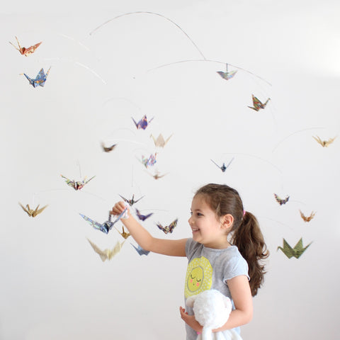 Giant Paper Crane Mobile in Prints