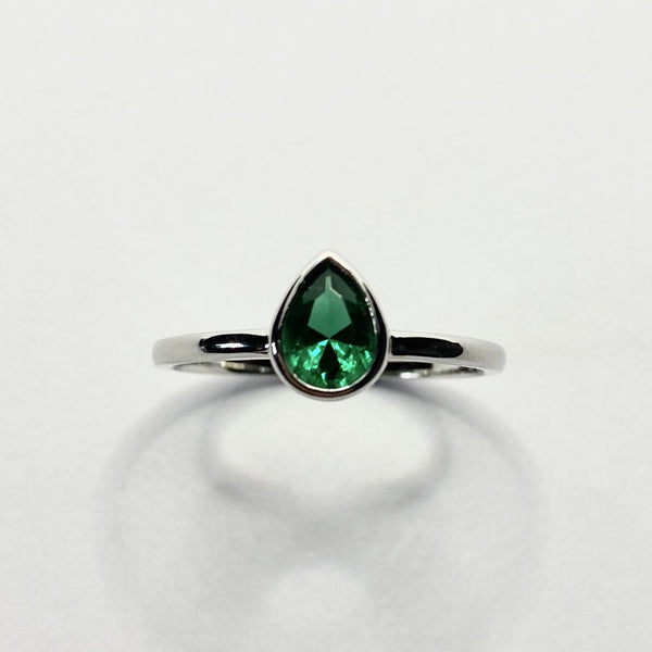 Tiana Emerald Teardrop Ring