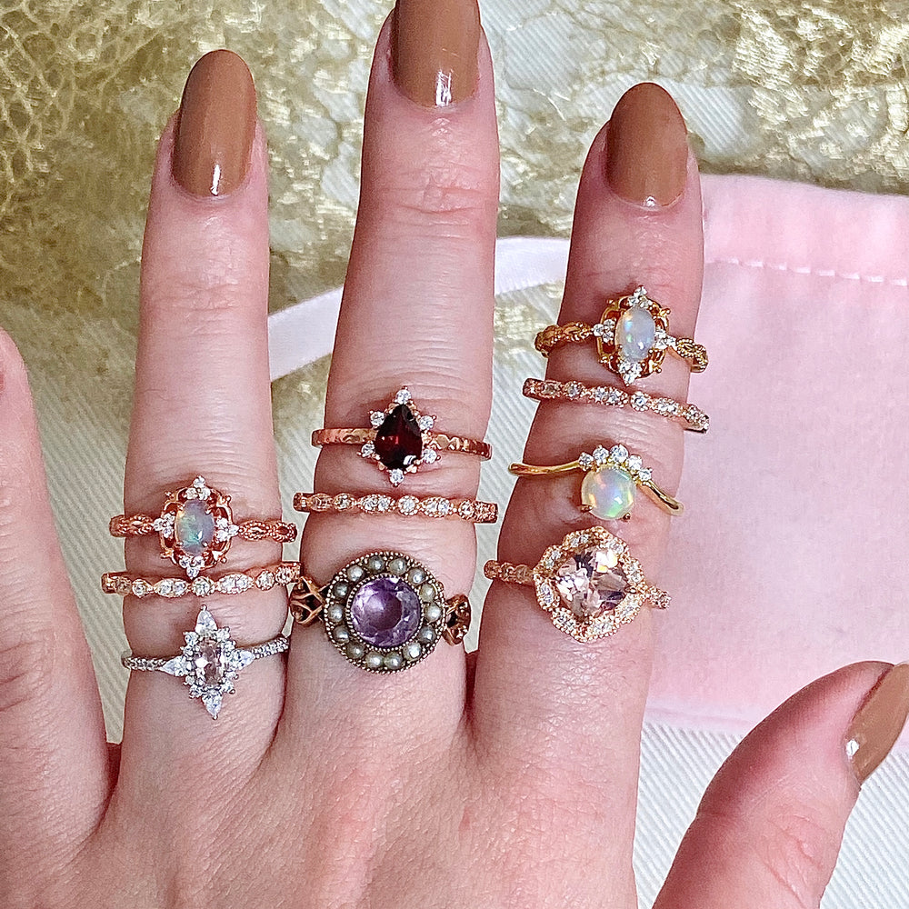Load image into Gallery viewer, Lily Morganite Stacking Set