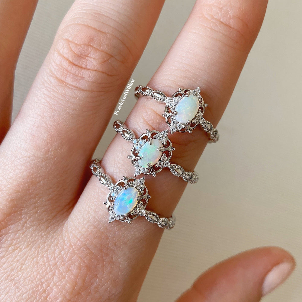 Load image into Gallery viewer, Dahlia Opal Ring Silver