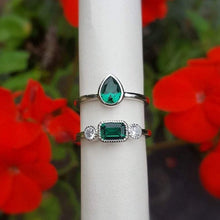 Load image into Gallery viewer, Tiana Emerald Teardrop Ring