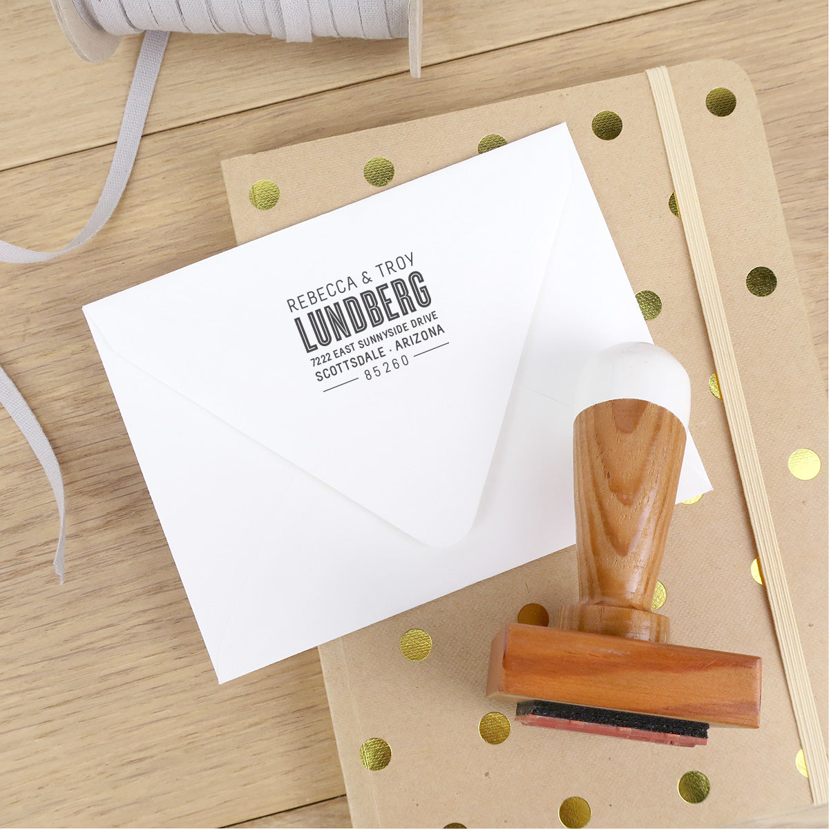 Reclaimed Wood Address Stamp – Inline