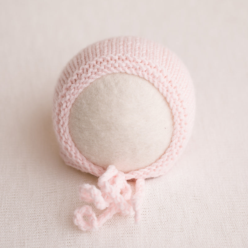 Newborn Knitted Bonnet - Soft Pink