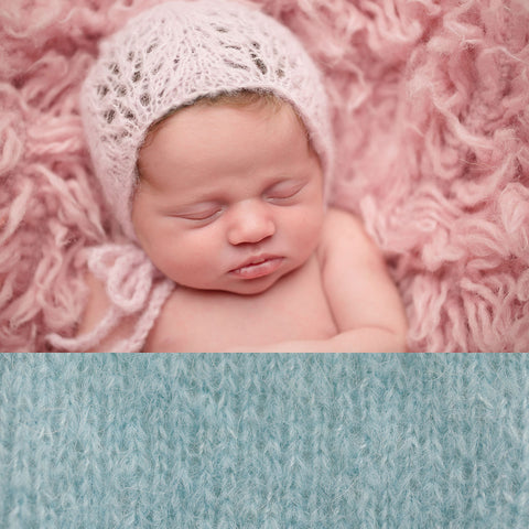 Newborn Alpaca Patterned Bonnet: Light Grey Blue