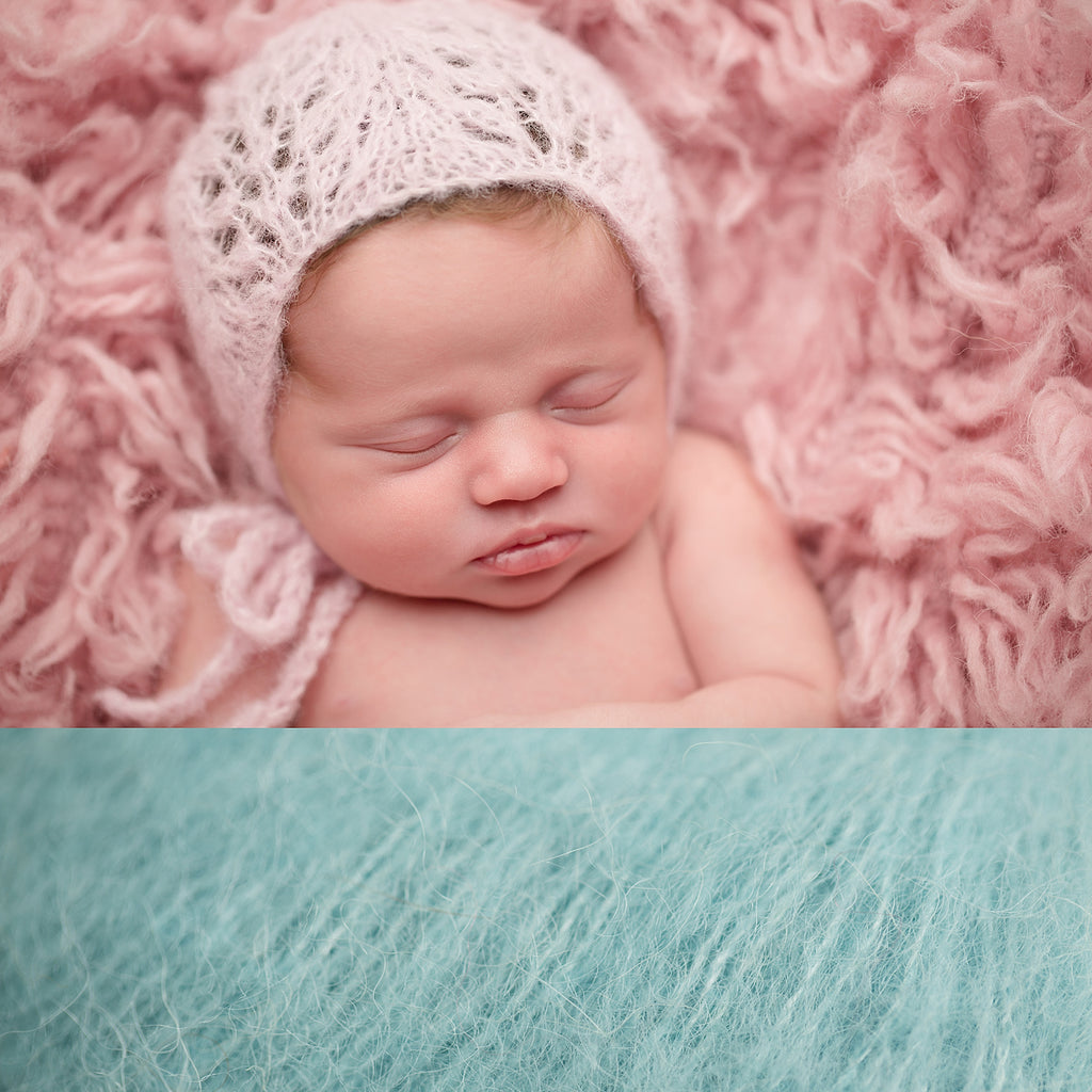 Newborn Alpaca Patterned Bonnet: Light Sea Green
