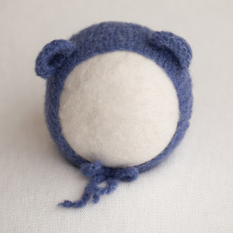 Newborn Alpaca Bear Bonnet: Denim Blue