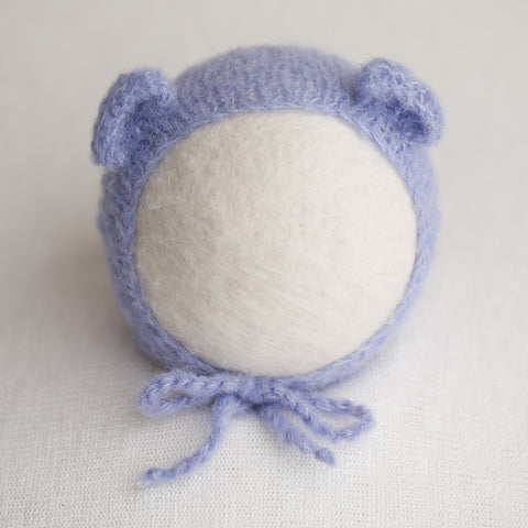 Newborn Alpaca Bear Bonnet: Light Lavender