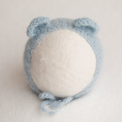 Newborn Alpaca Bear Bonnet: Light Grey Blue