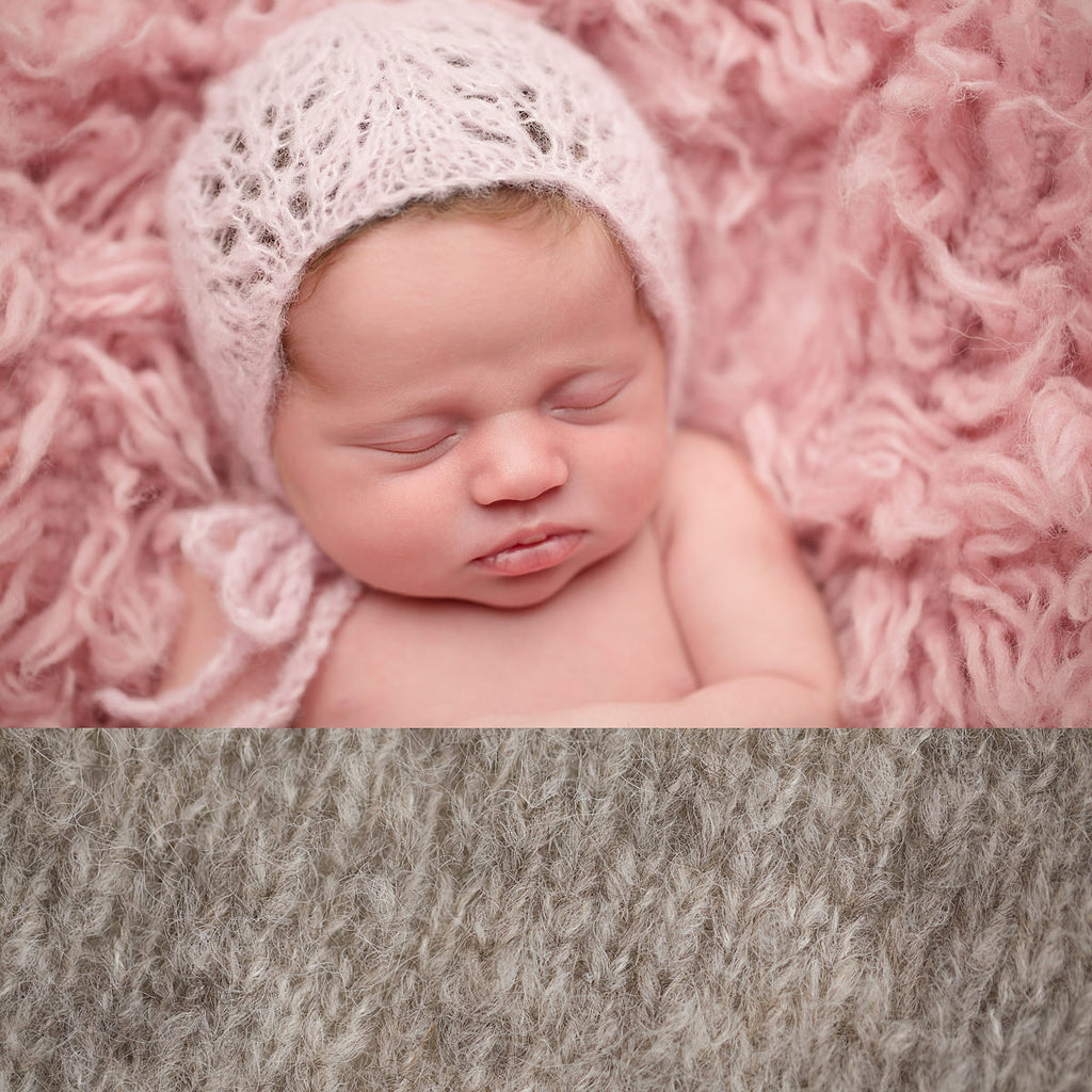 Newborn Alpaca Patterned Bonnet: Warm Grey