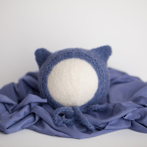 Newborn Bonnet & Wrap Set - Denim Kitten Bonnet