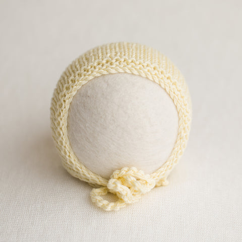 Newborn Knitted Bonnet - Buttermilk