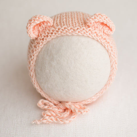 Newborn Knitted Bonnet - Apricot (7130)