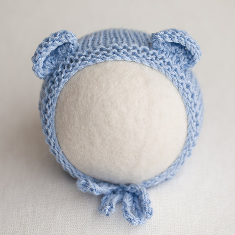 Newborn Knitted Bonnet - Wedgewood (7139)