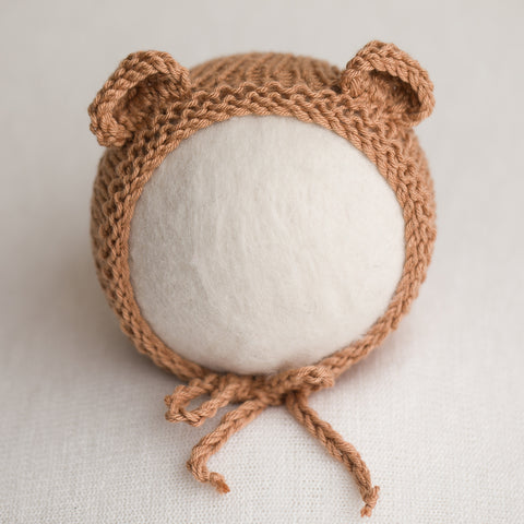 Newborn Knitted Bonnet - Nutmeg (7147)