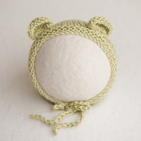 Newborn Knitted Bonnet - Celery (7150)