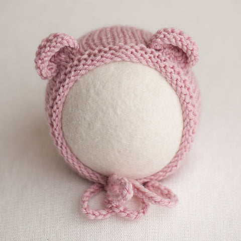 Newborn Knitted Bonnet - Dusty Pink (DM33)